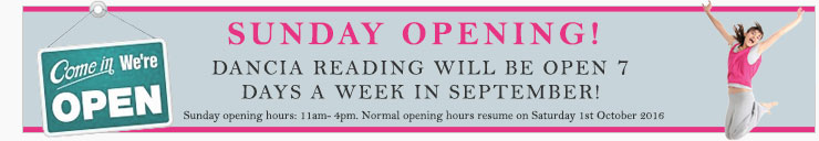 Dancia Reading will be open 7 days a week from 31st August and throughout September.